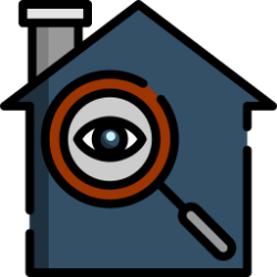 An animated image of a house and magnifying glass with eye in it inspecting house